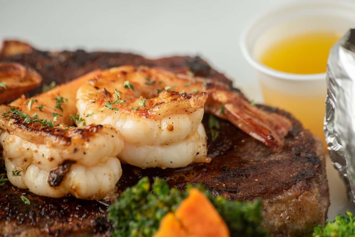 Grilled T-Bone With 3 Jumbo Shrimp