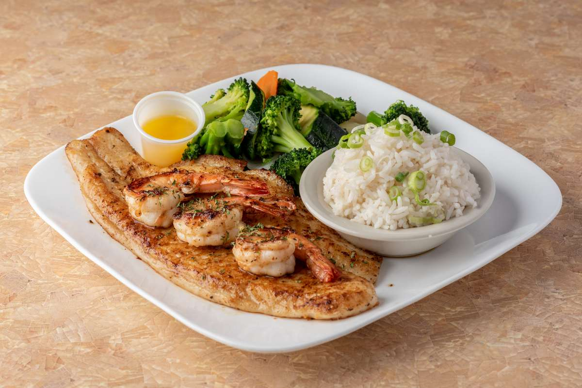 Grilled Flounder With 3 Jumbo Shrimps