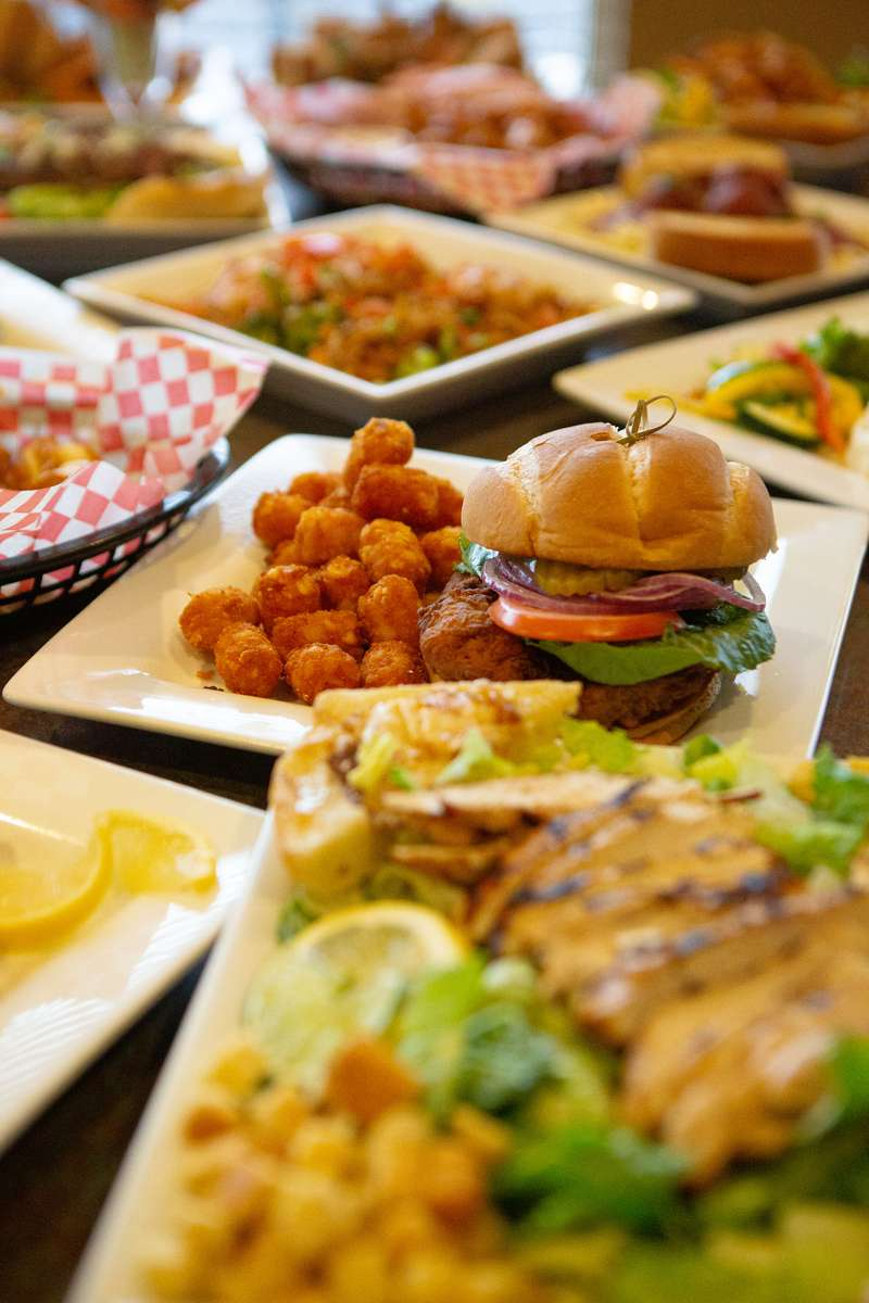 Burger and appetizers
