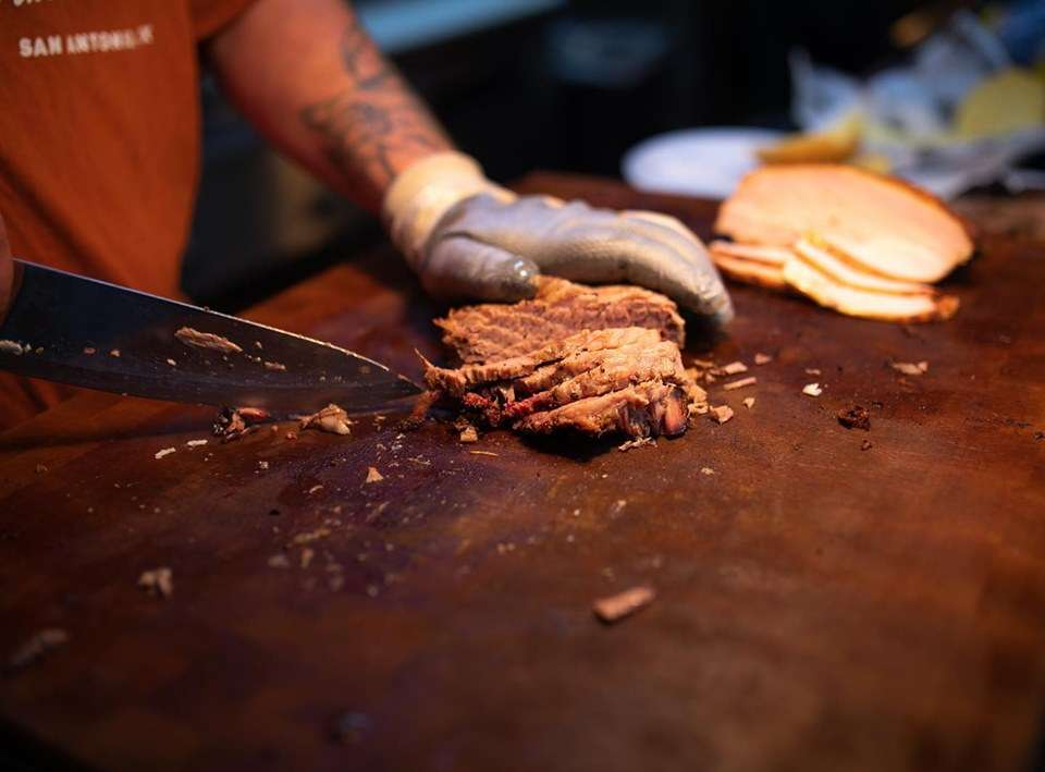 Chef preparing meats