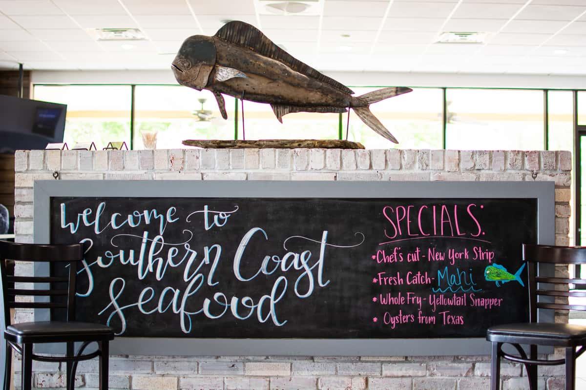 southern coast seafood sign