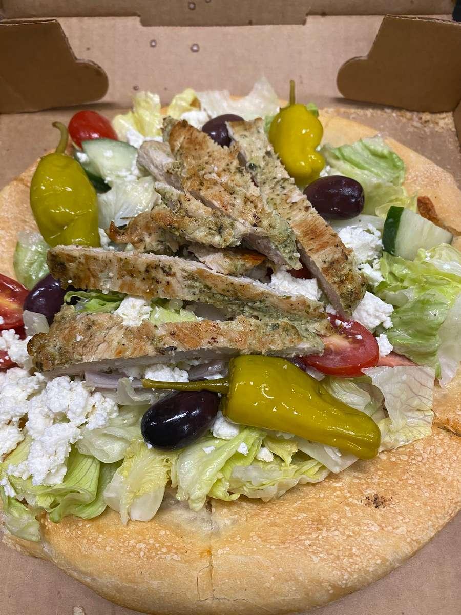 Salad on a pizza crust