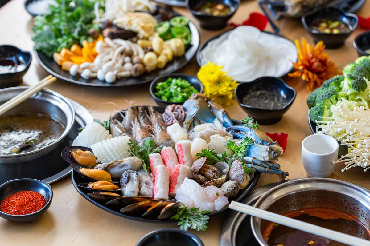 seafood plate and meat plate with happy mothers day text