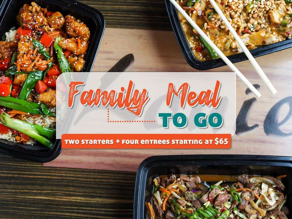 Order a Family Meal To Go, including two starters and four entrees, for a special price!