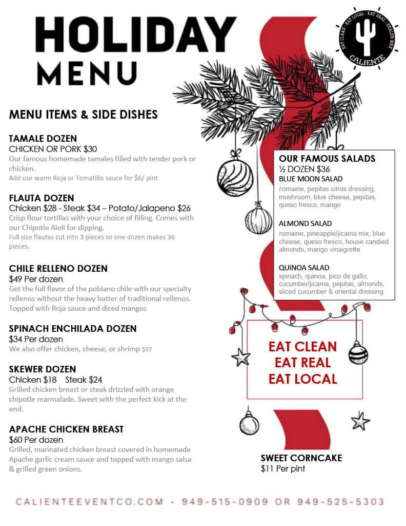 holiday menu back