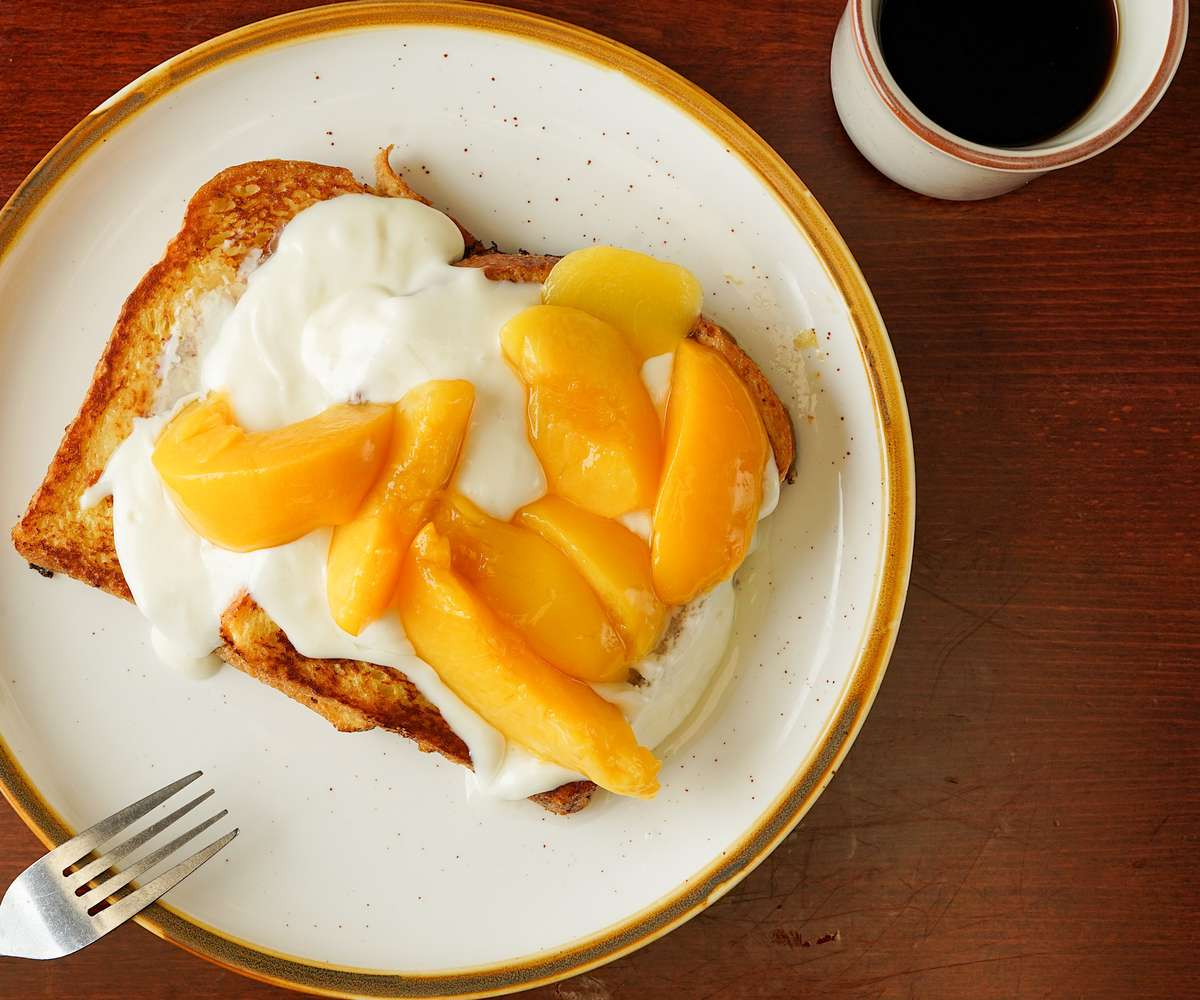 Peach and Cream Cheese Brioche French Toast
