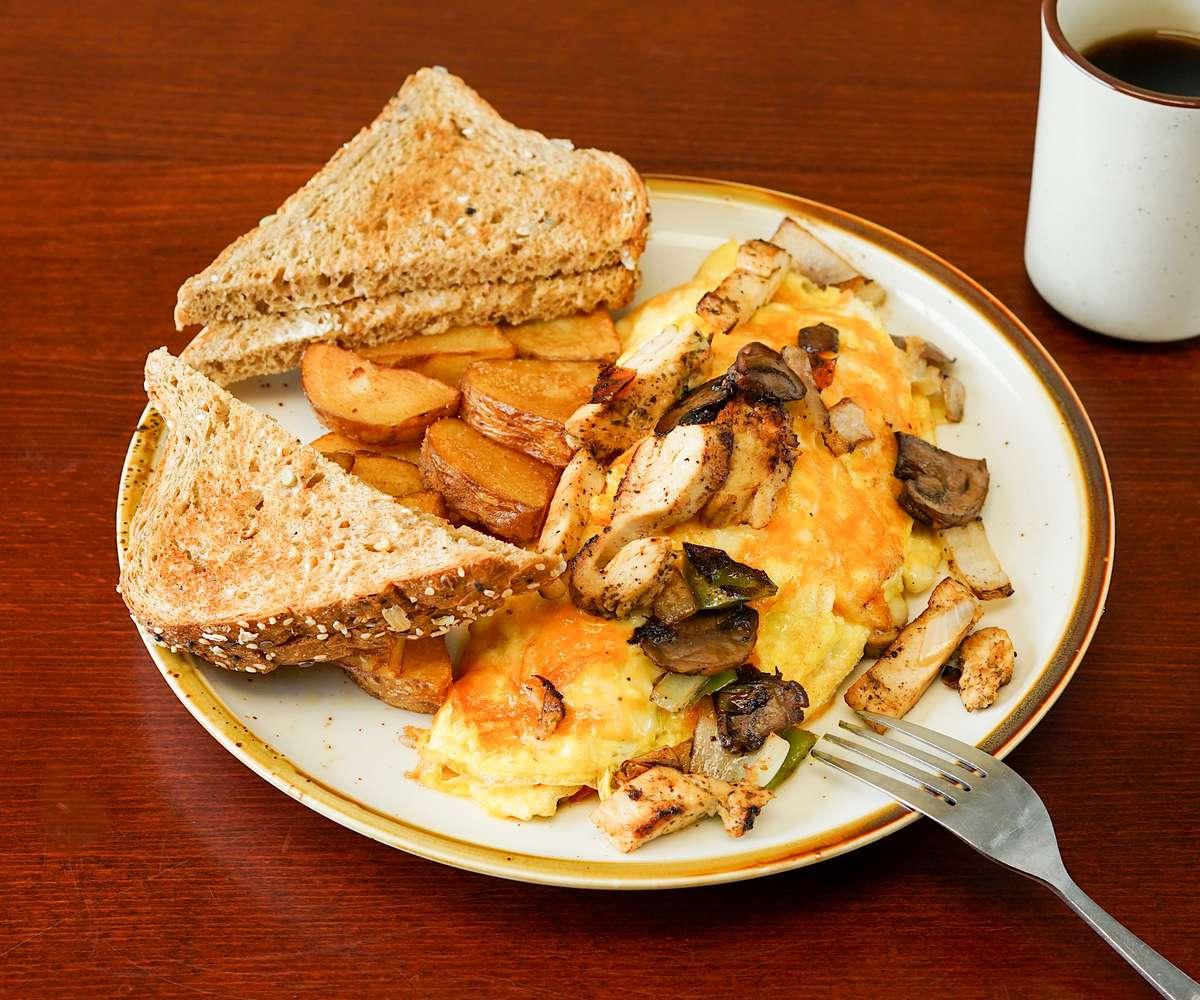 Steak or Chicken Fajita Omelette