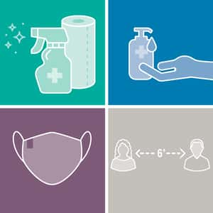 sanitize, spray, mask and distance