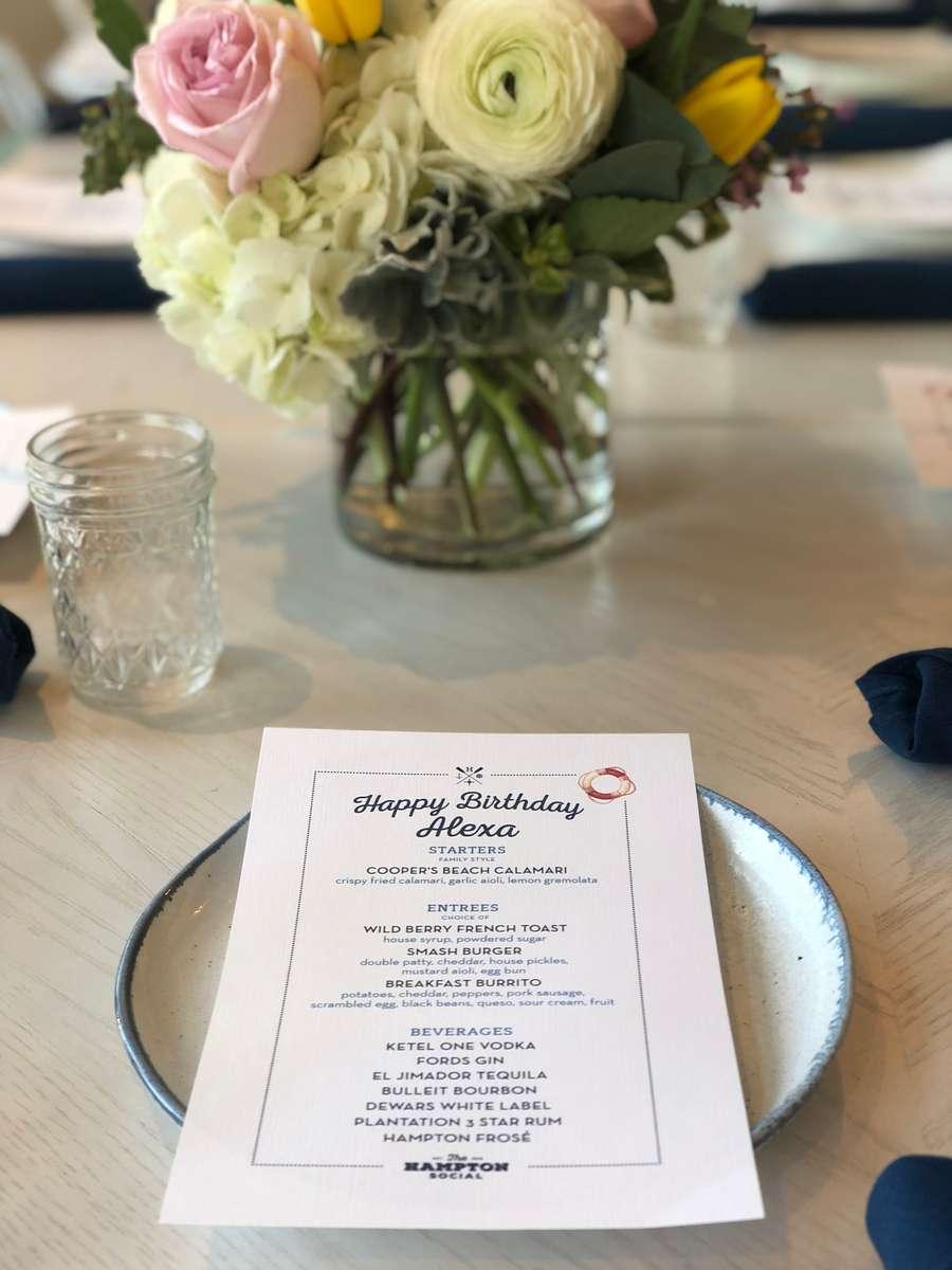 menu and centerpiece