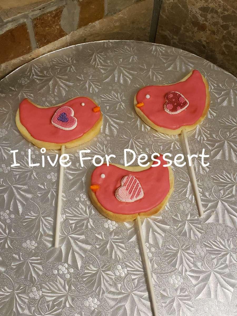 Pink Bird Cookie On Stick Shortbread 3 Day Notice