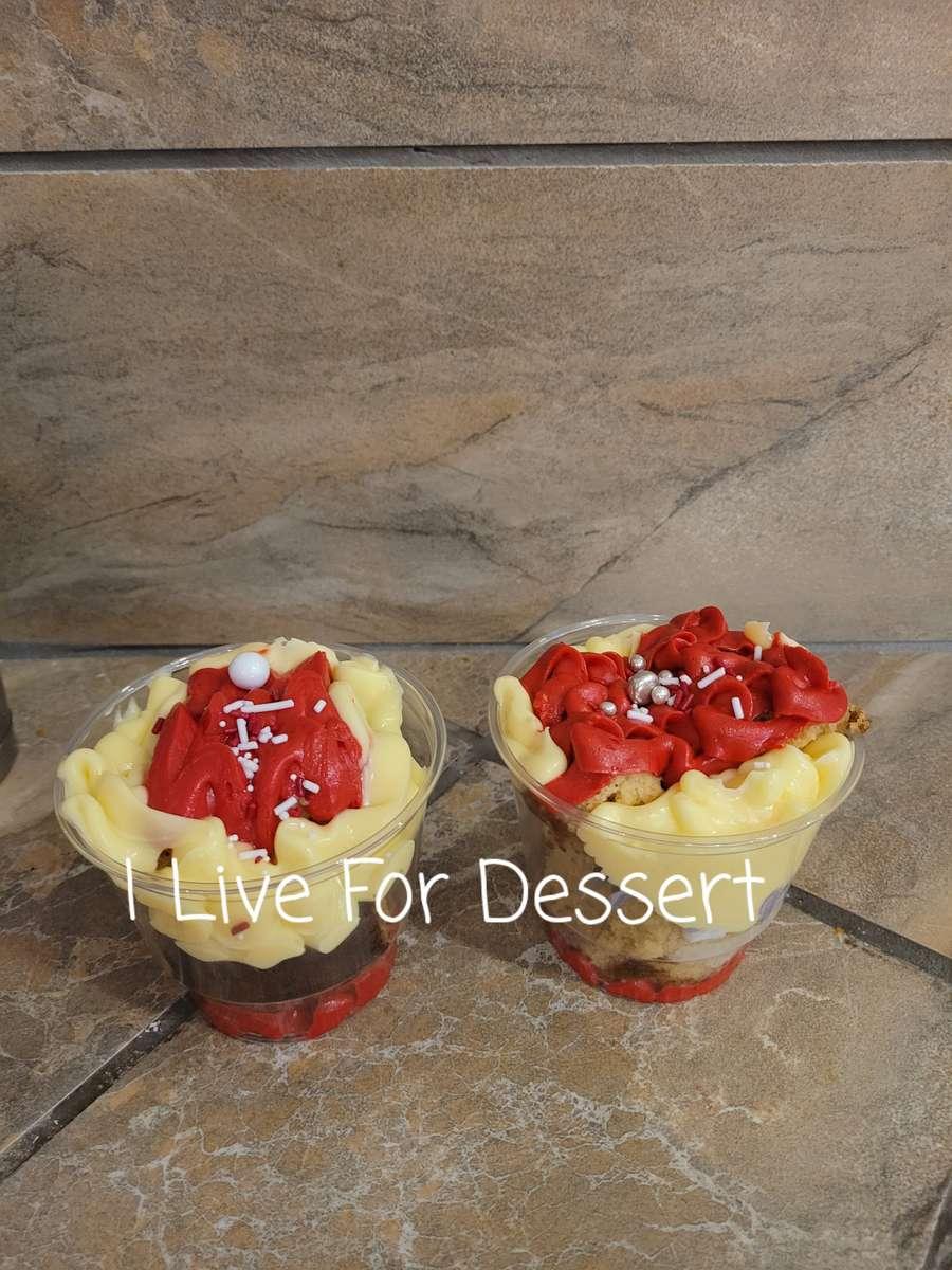 Vanilla Cake Parfait Vanilla & Strawberry Frosting & Bavarian Cream Todays Batches
