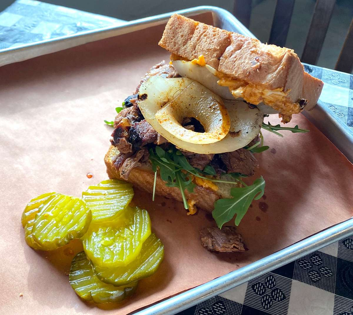 BBQ sandwich and pickles