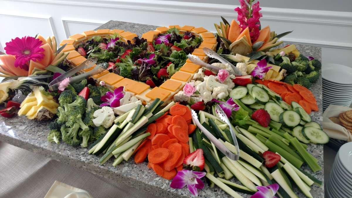 veggie platter in shape of a heart