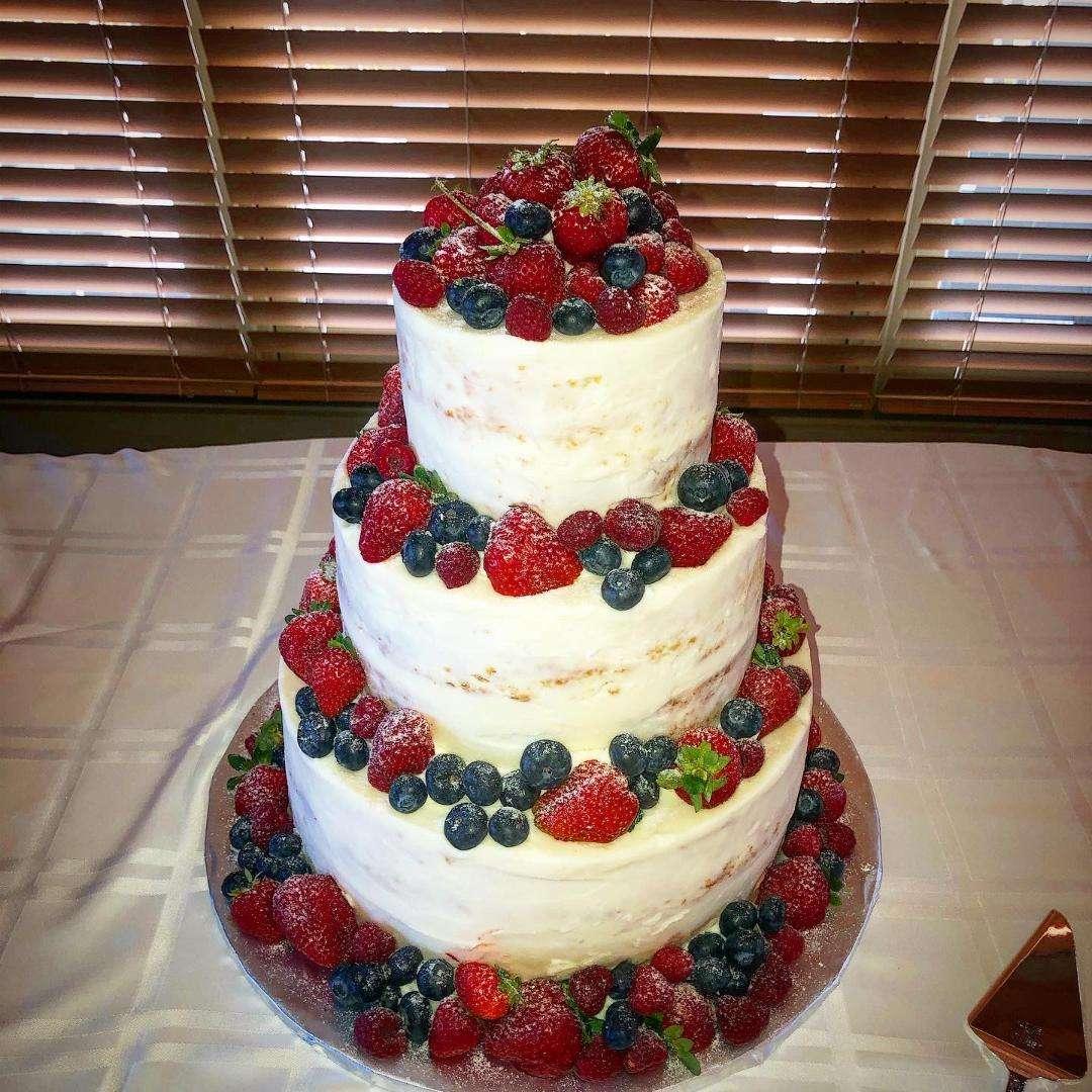 wedding cake with fresh berries