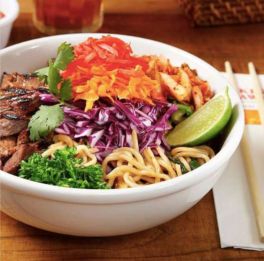 Spicy Asian Noodle Bowl with Grilled Teriyaki Steak