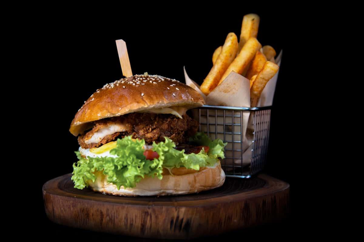 Hot chicken sandwich and fries