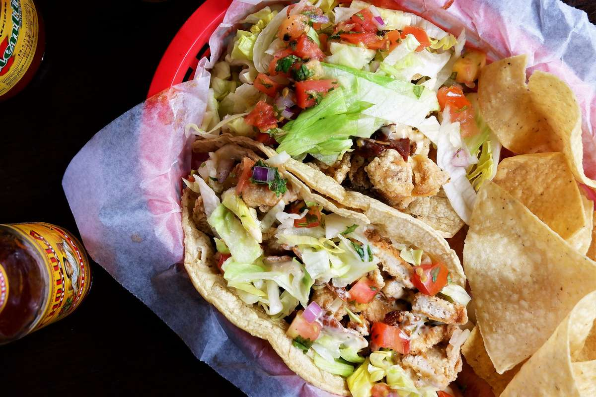 fried chicken BLT tacos