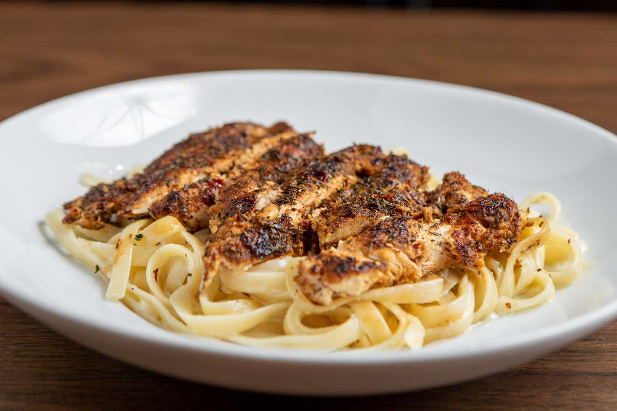 Fettuccine Alfredo with Blackened Chicken