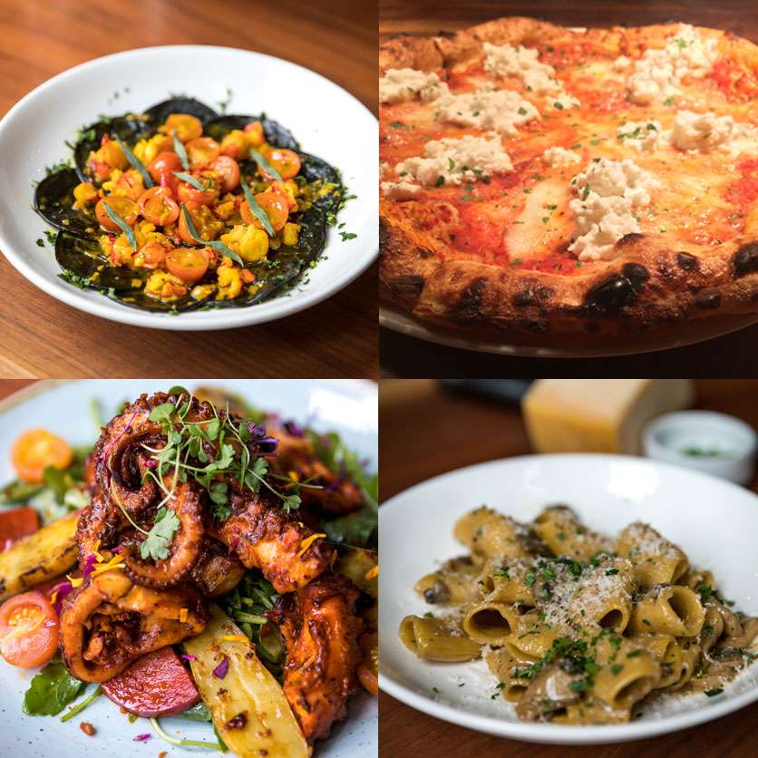 four images of food