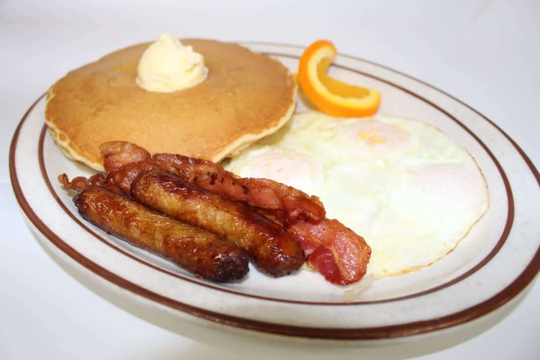 3 Big Hot Cakes, 4 Bacon or Sausage, and 3 Eggs