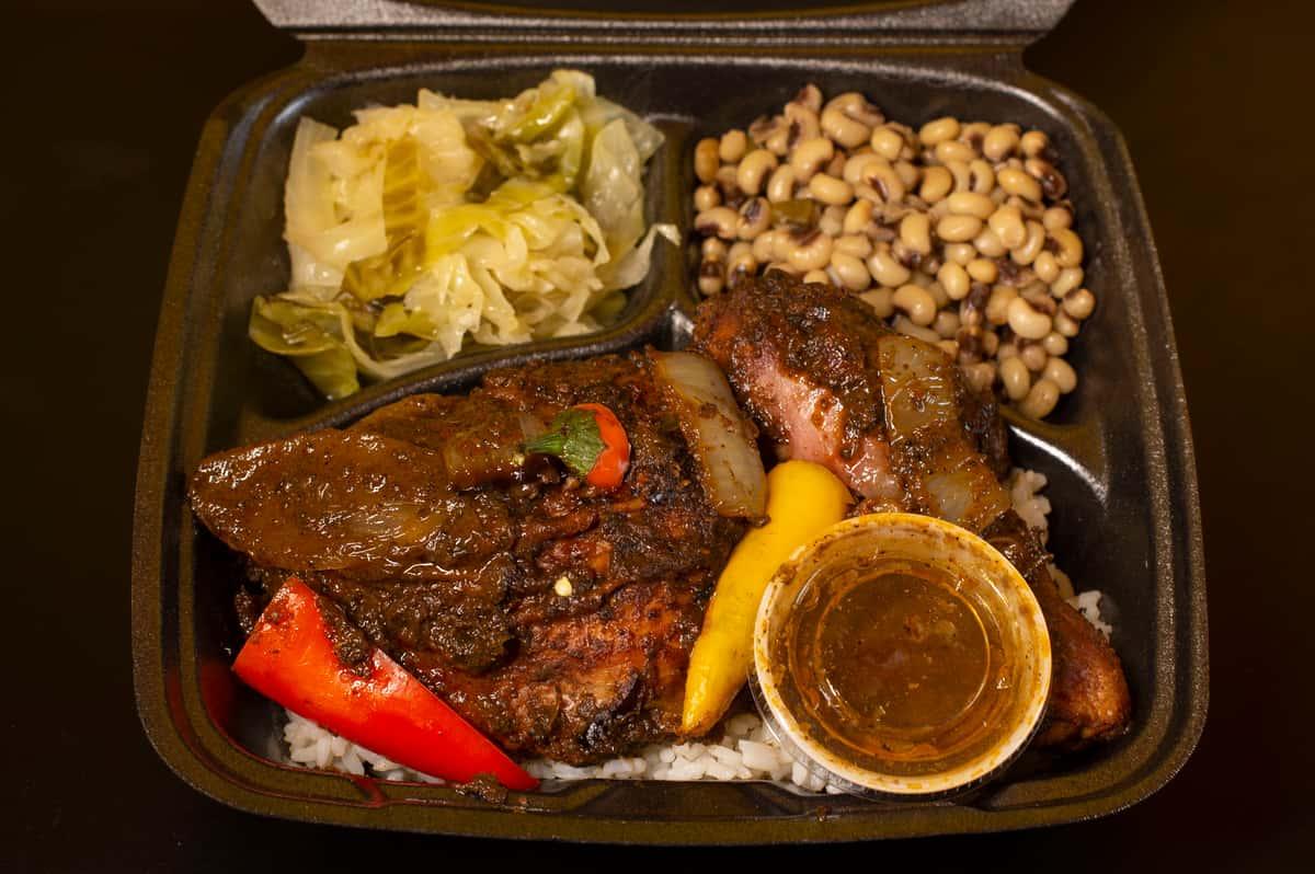Jerk Chicken Black-eyed Peas and Stewed Cabbage