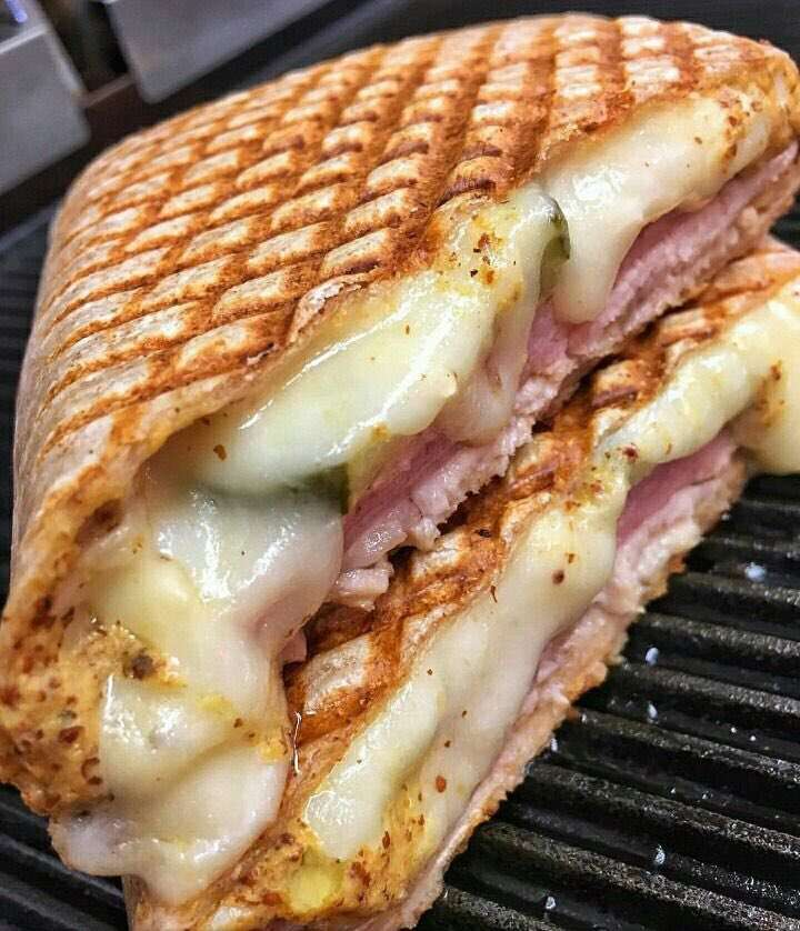 Grilled ham and swiss wrap