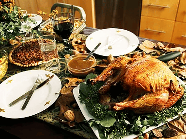 thanksgiving dinner with turkey