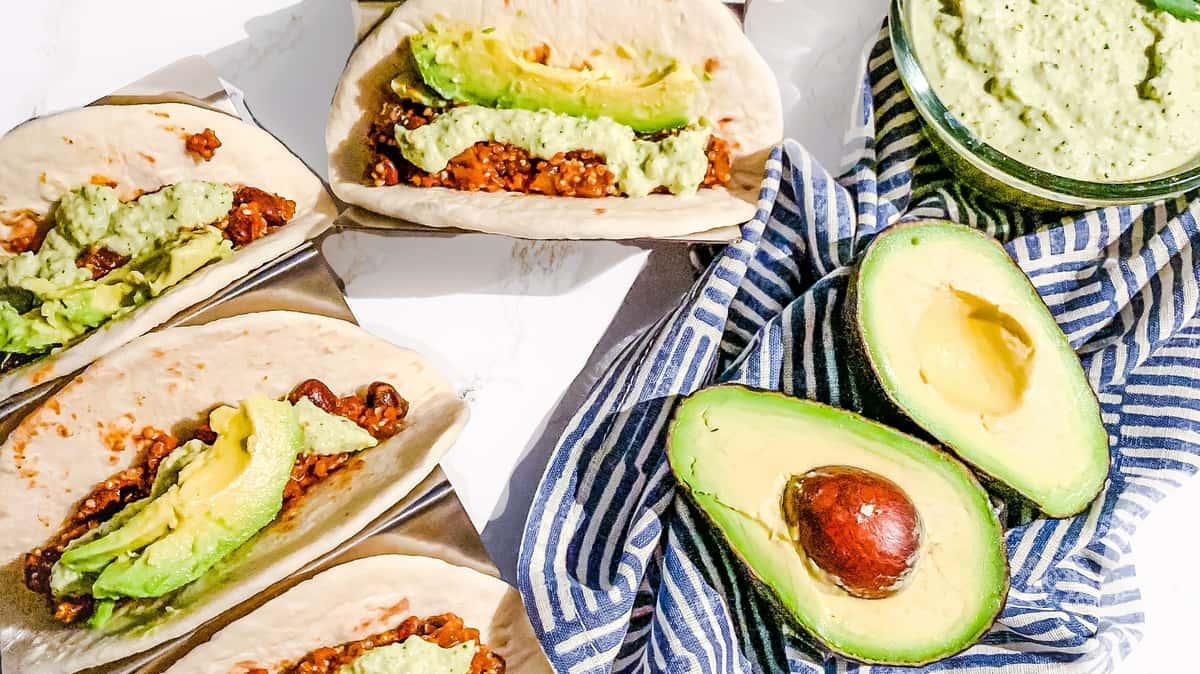 Chorizo tacos with avocado