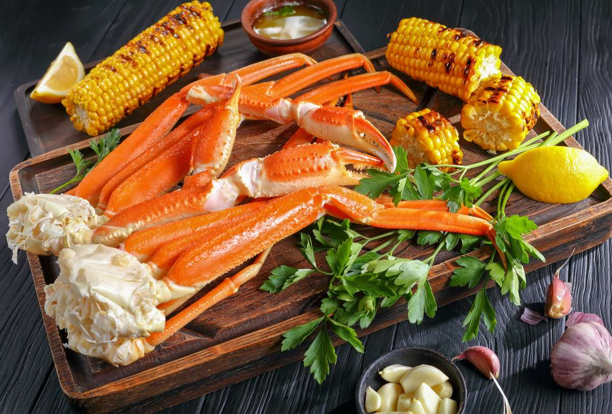 King crab legs with corn