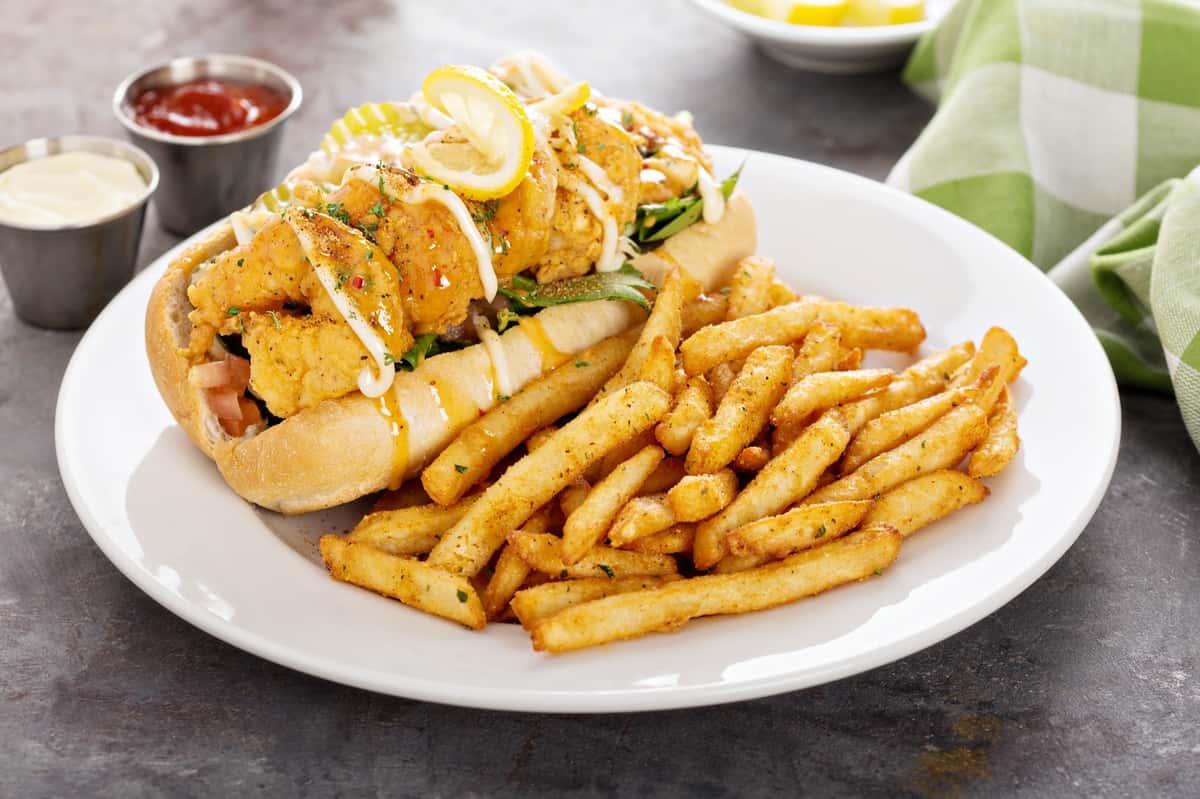 Shrimp po boy with french fries