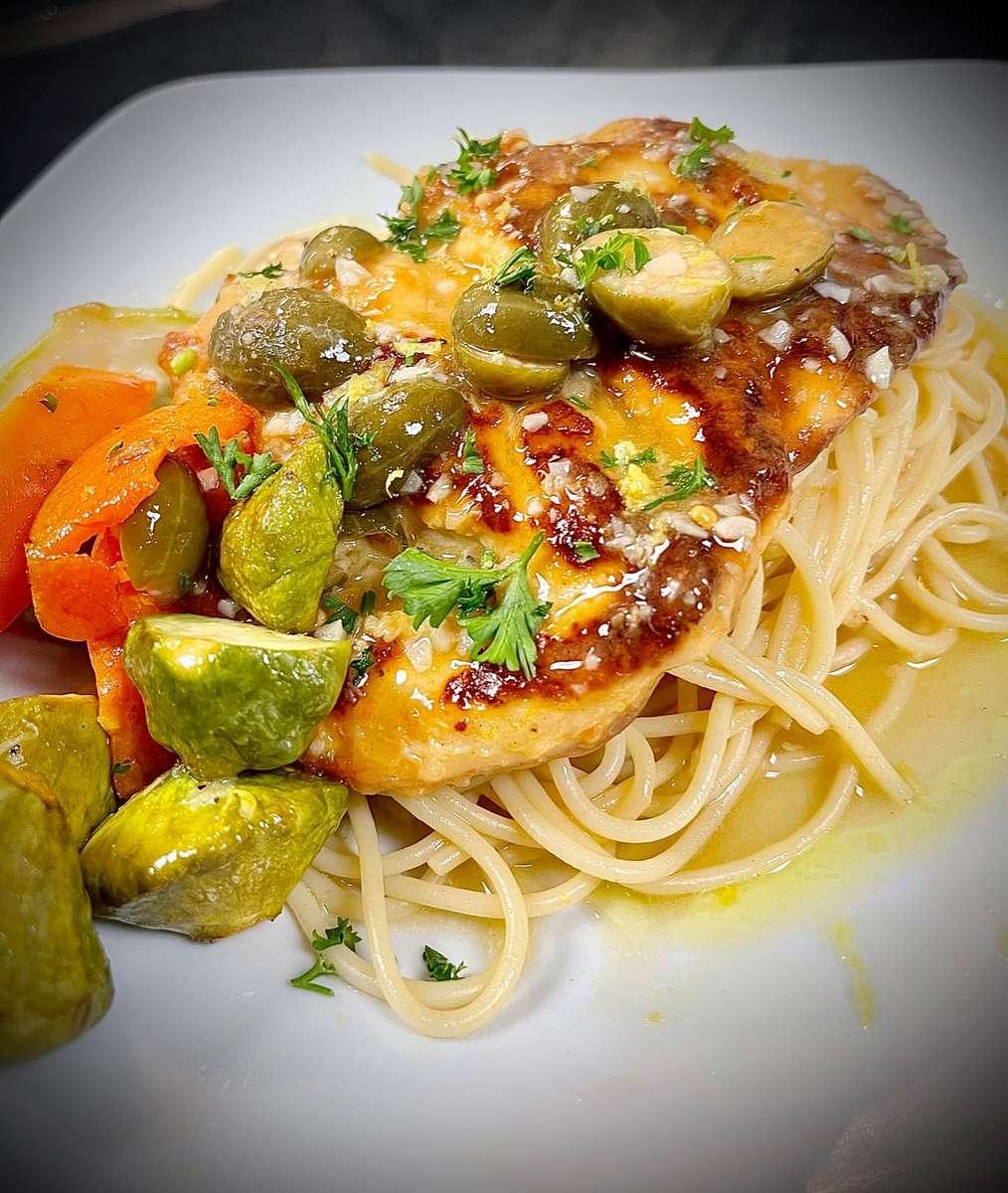 Chicken Piccatta with spaghetti