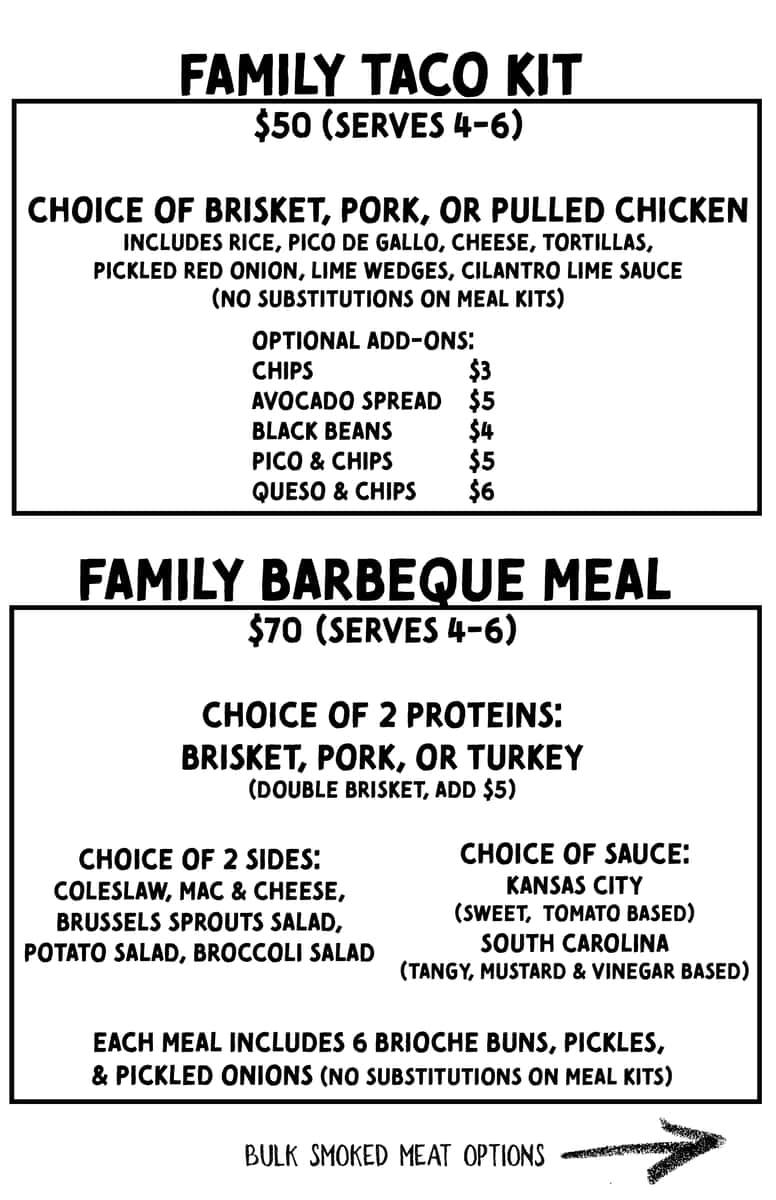 Family Taco Kit & Family BBQ Meal menu
