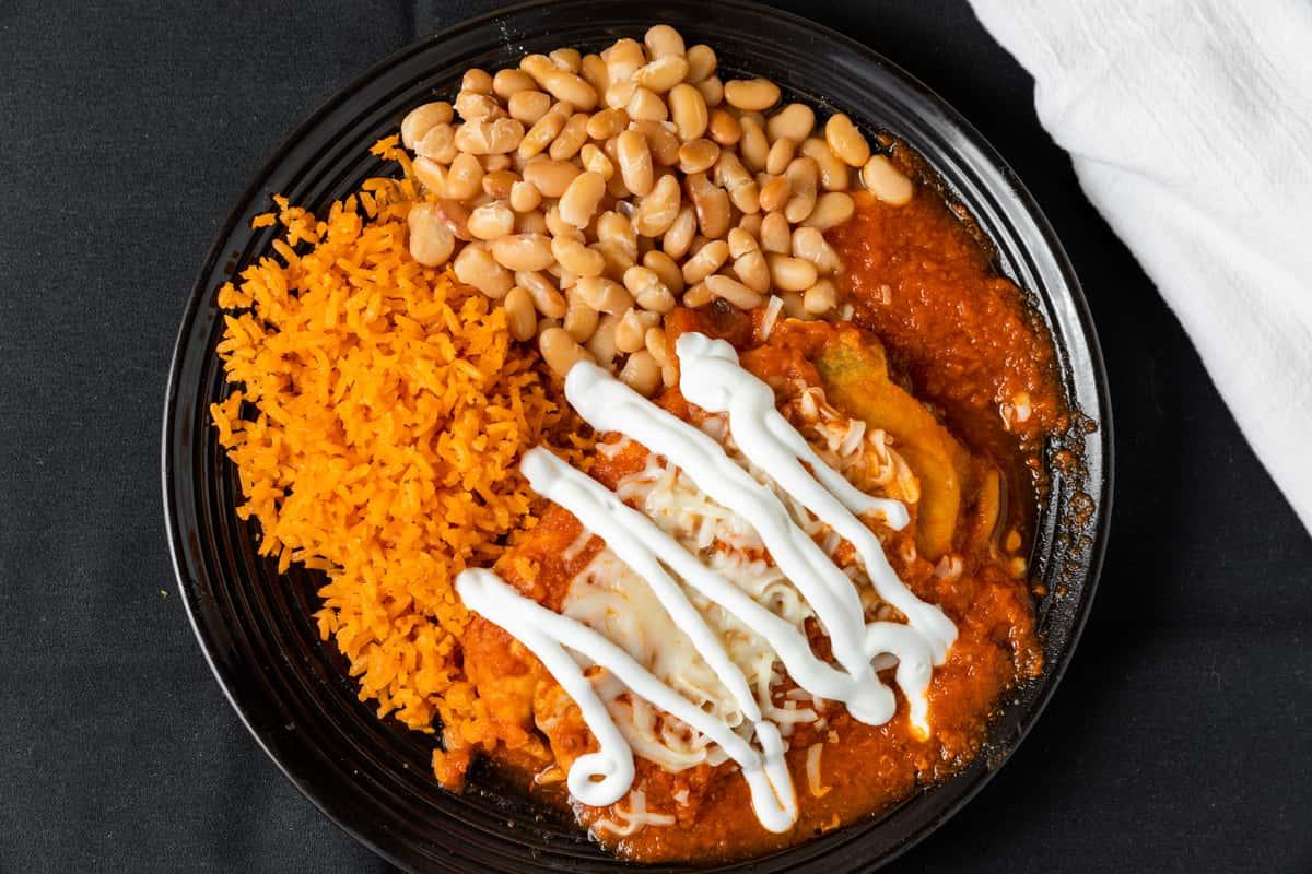 wet burrito, beans and rice
