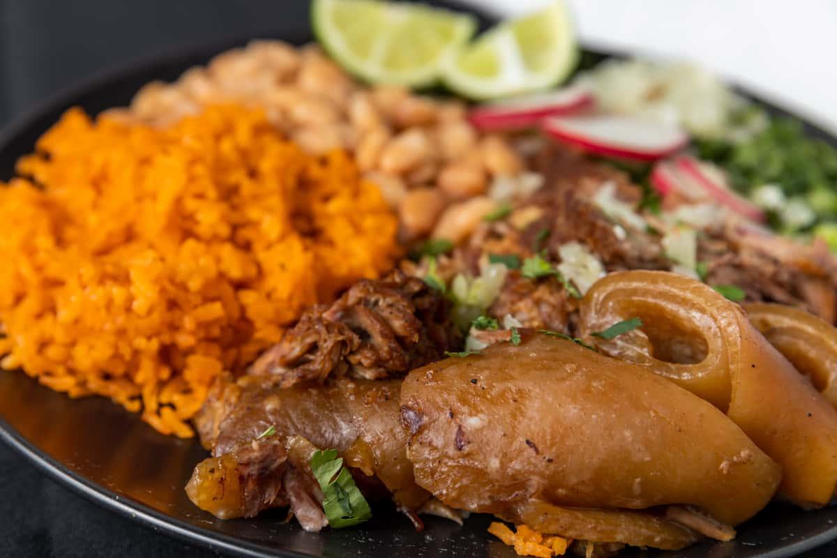 carnitas with yellow rice