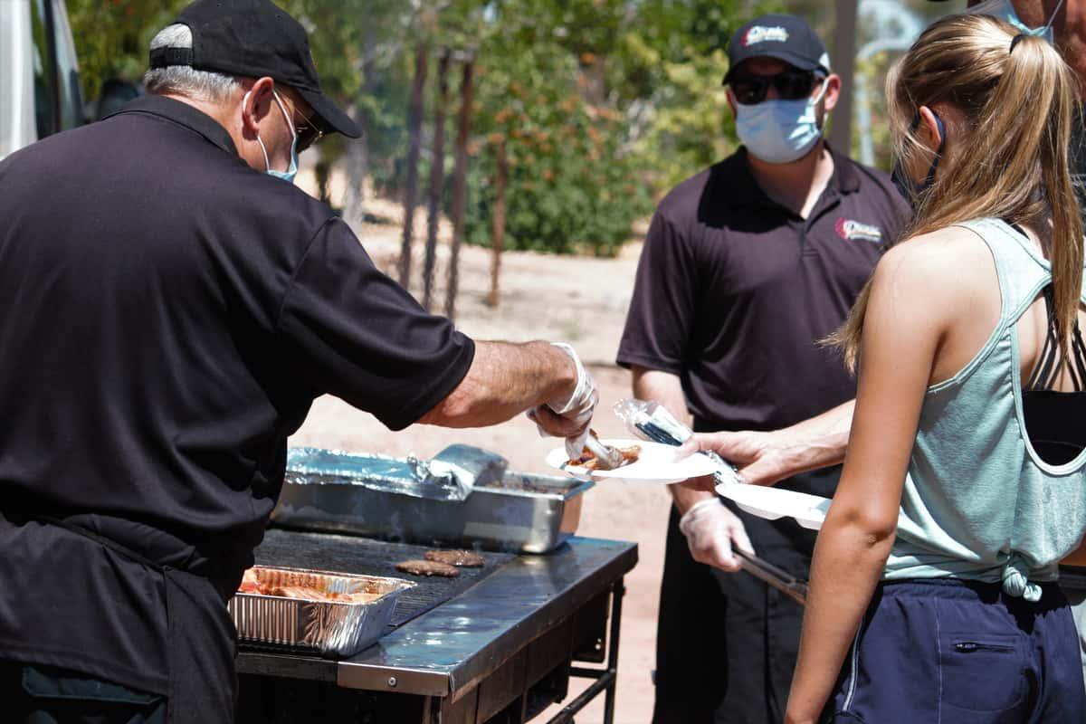 Staff serving customers