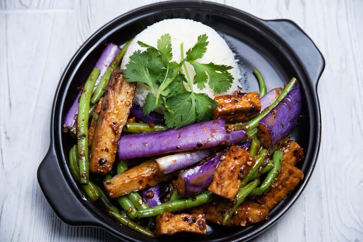 Tofu Eggplant & Green Bean / Đậu Hủ Xào Cà Tím & Đậu Que