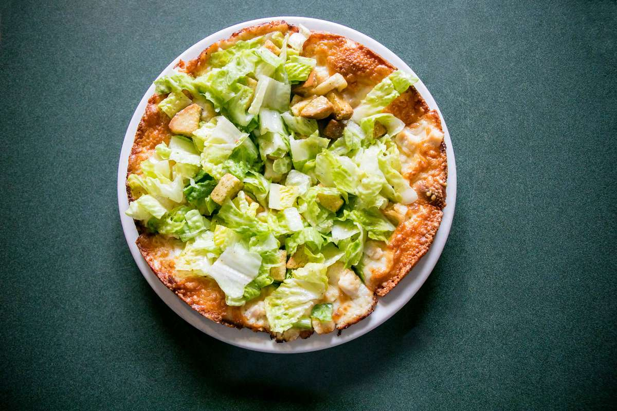 chicken ceasar salad pizza