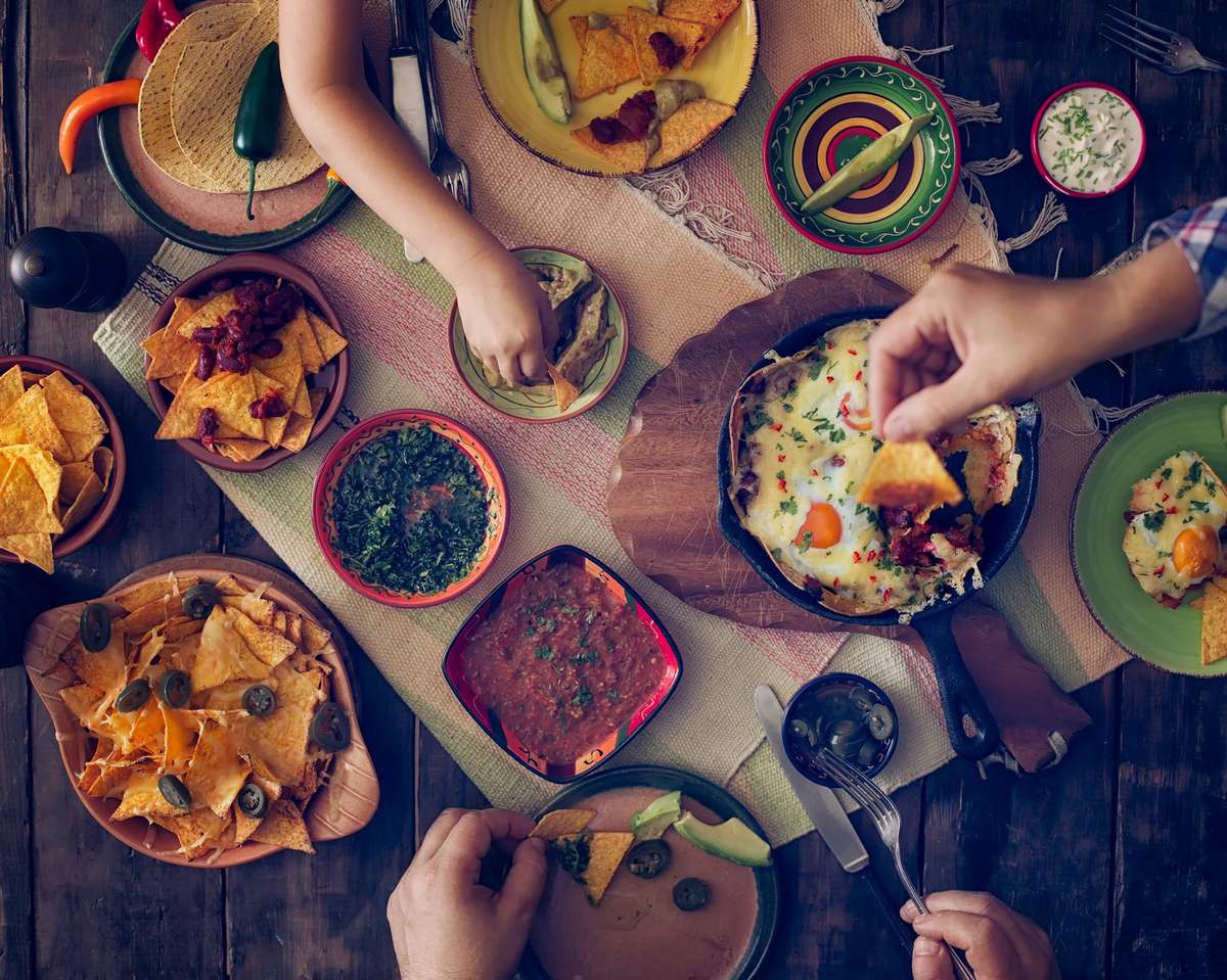 table full of mexican food