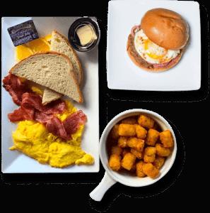 spread of breakfast items