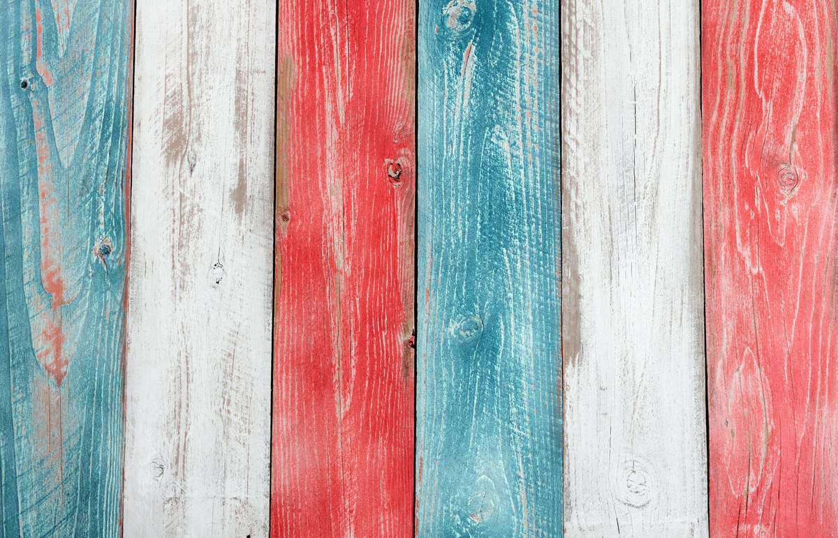 Red, white and blue wood boards