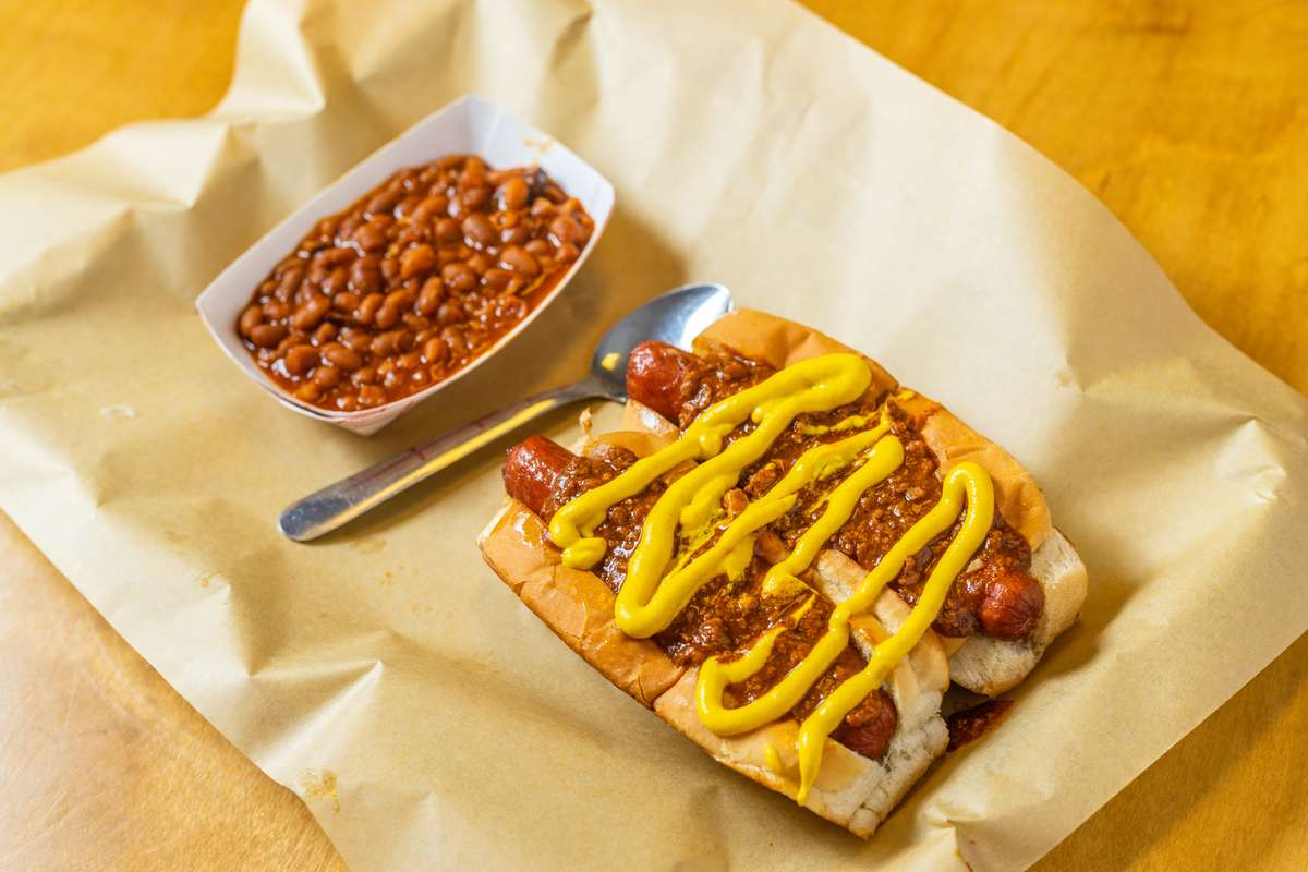 hot dogs and beans