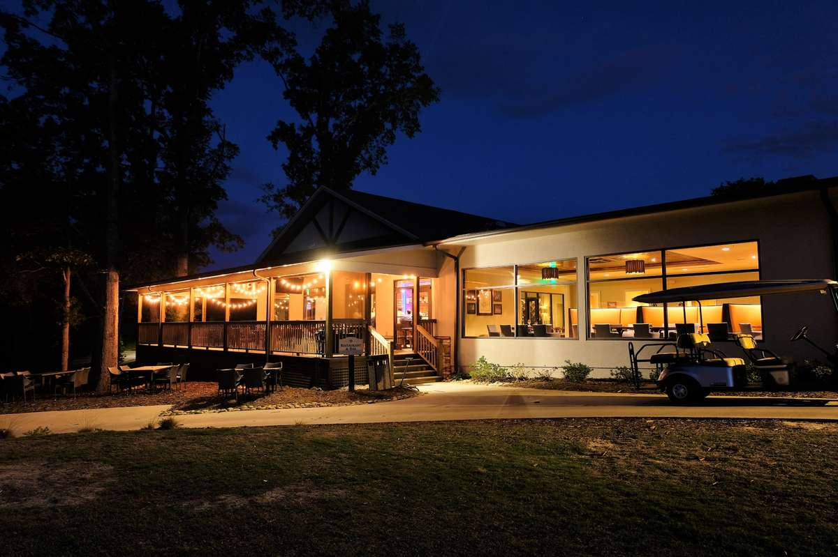 restaurant exterior night time