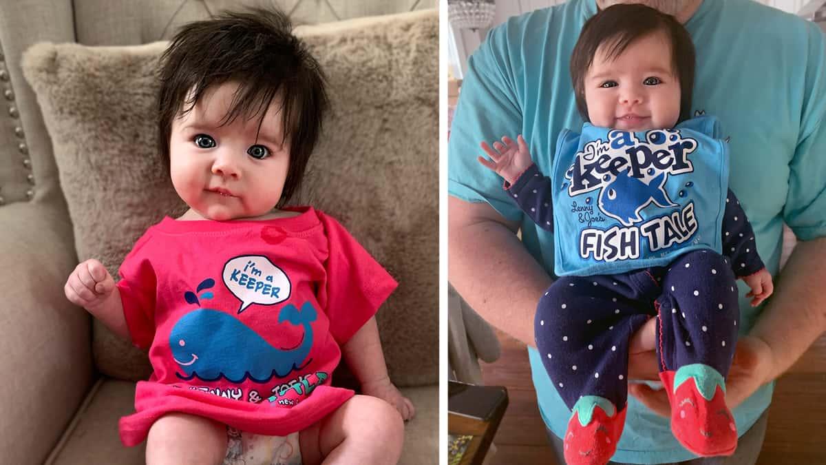 Baby in Fish Tale Shirt & Bib