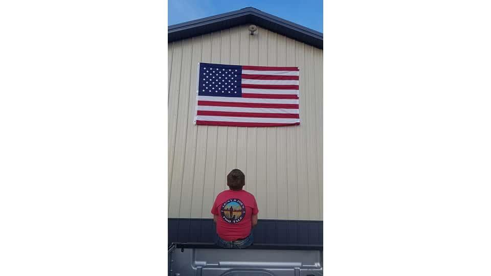 Braxton looking up at Flag