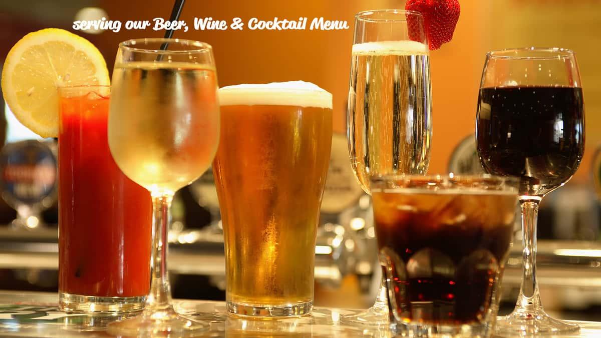 Enjoy our Beer, Wine & Cocktails