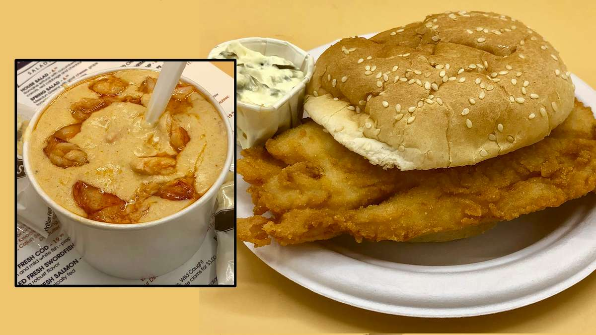 Fried Fresh Fish Roll & Lobster Bisque