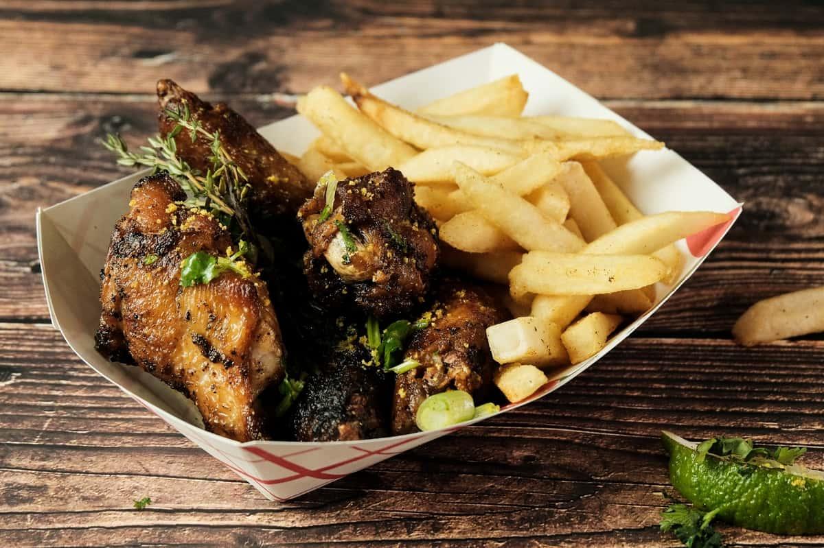 lemon pepper wings and fries