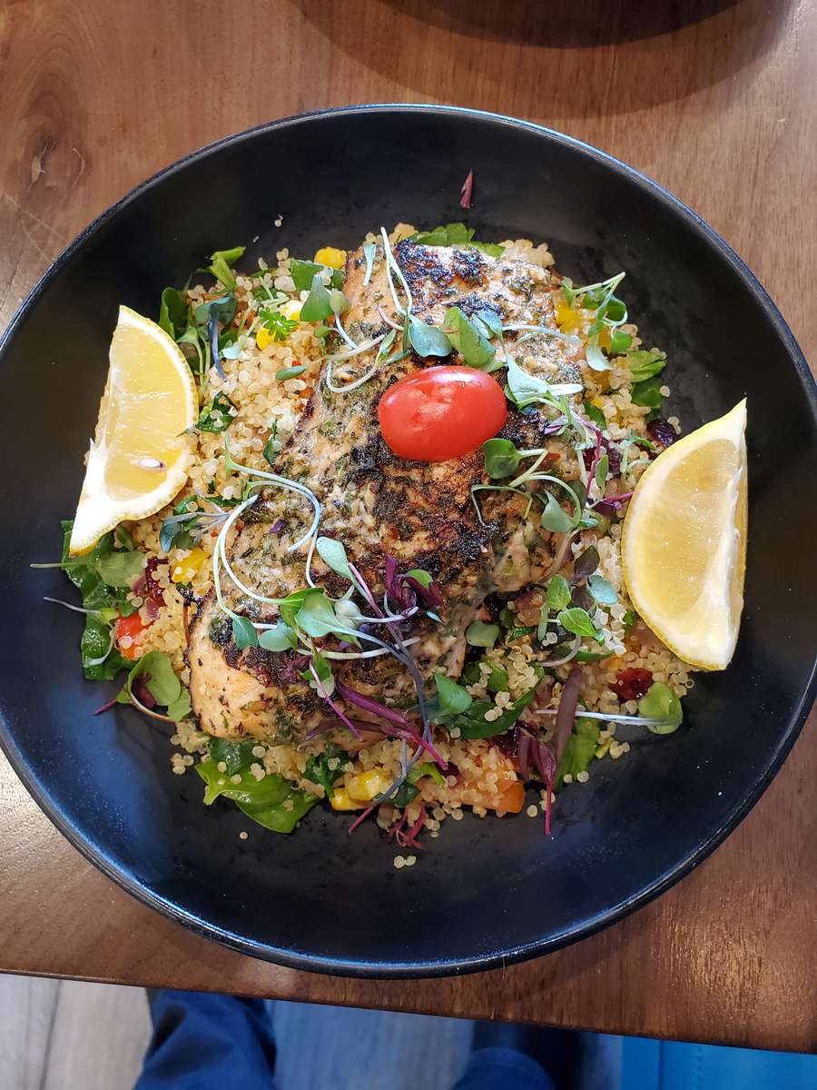 Seasoned Grilled Salmon with Quinoa