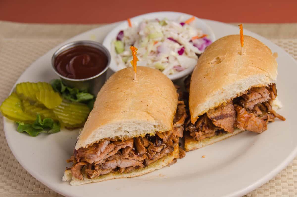 Cowboy Sized BBQ Tri Tip Sandwich