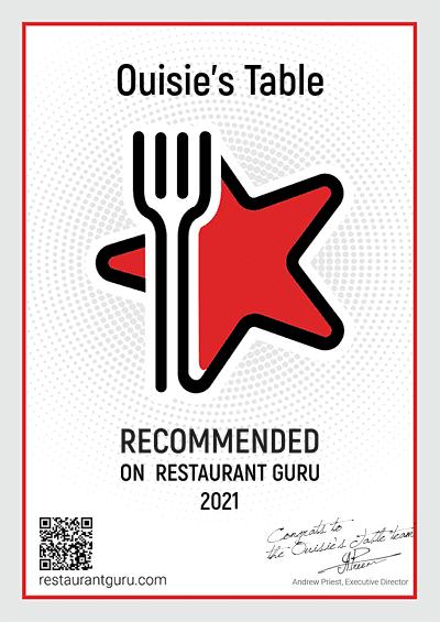 Recommended on Restaurant Guru 2021